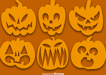 Vector Set Of Orange Pumpkins Silhouettes - Free vector #386777