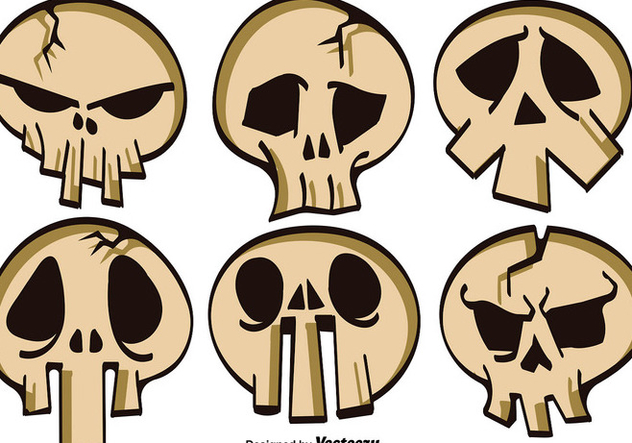 Vector Set Of Cartoon Skulls For Halloween - vector #386877 gratis