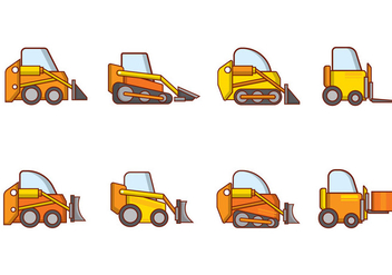 Free Cartoon Skid Steer Vector - vector gratuit #386897