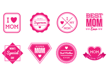 Free Set of Mothers Day Badges and Stickers Vector - бесплатный vector #387087