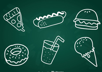 Food Chalk Draw Icons Set - vector gratuit #387117