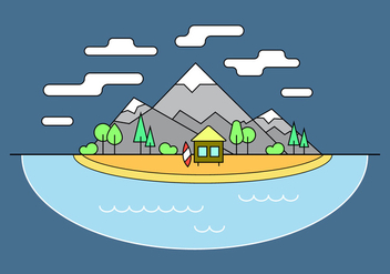 Surf Shack Mountain Vector Illustration - бесплатный vector #387257