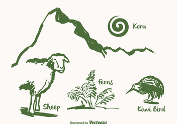 Free Drawn New Zealand Vector Landmarks - бесплатный vector #387287