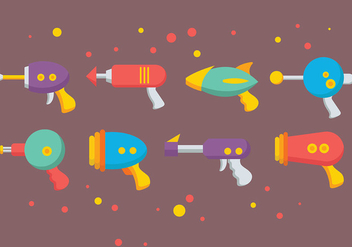 Colorful Laser Gun Icons Vector - Free vector #387487