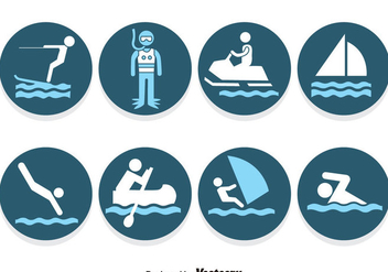 Water Sports Blue Icons Vector - бесплатный vector #387587