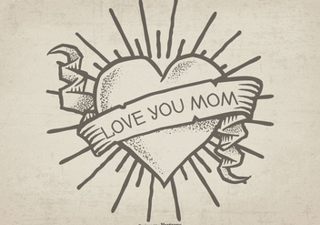 Cute Hand Drawn Mom Tattoo Ilustration - Kostenloses vector #387607