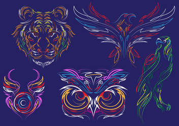 Pinstripes Animal Vectors - бесплатный vector #387697