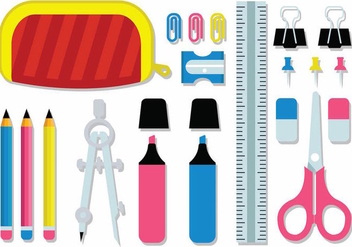Free Student Stationery Supplies Kit Vector - vector gratuit #387807
