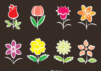 Flowers Collection Vector - vector gratuit #387867