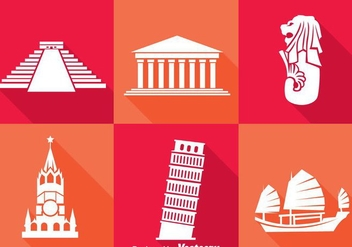 World Landmark White Icons - vector #388127 gratis