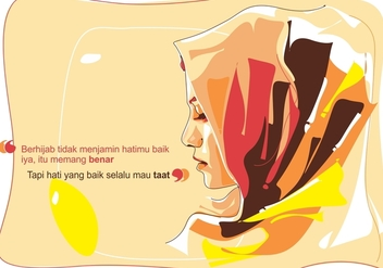 Hijab Islamic Woman Vector Portrait - Free vector #388267
