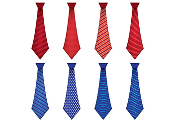 Set Of Blue and Red Tie Cravat Vector - Free vector #388347