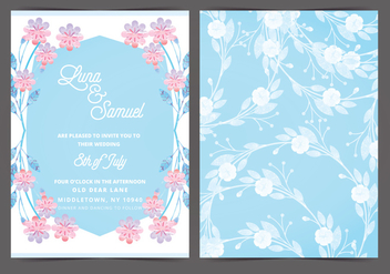 Pink and Blue Vector Wedding Invite - vector #388457 gratis