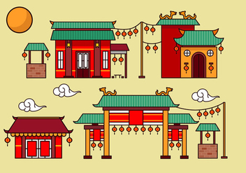 China town decoration building flat vector - бесплатный vector #388897