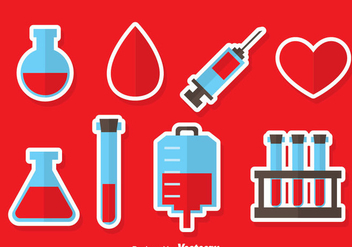 Blood Donation Element Icons Vector - vector gratuit #388917