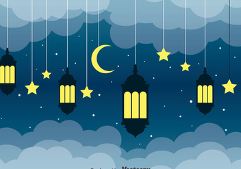 Arabian Lantern Night Background - vector #389177 gratis