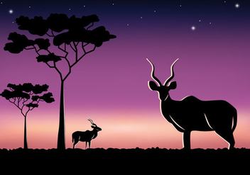 Savannah Kudu at Night - Free vector #389287