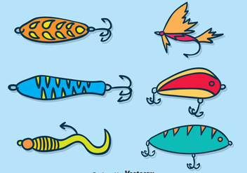 Hand Drawn Fishing Bait Vector Set - Free vector #389527