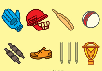 Hand drawn Cricket Element Vector - Free vector #389567