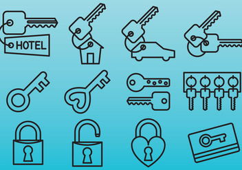 Line Key Icons - Free vector #389687