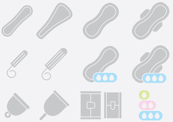 Gray Pads And Tampon Icons - бесплатный vector #389777