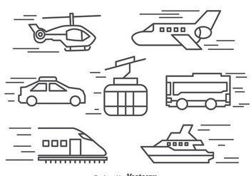 Transportation Line Icons Vector - бесплатный vector #390157