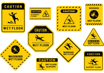 Free Wet Floor Sign Vector - vector gratuit #390677