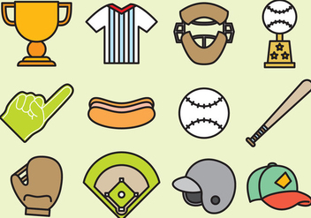 Cute Baseball Icons - Free vector #390767