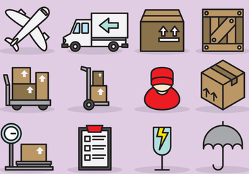 Cute International Delivery Icons - бесплатный vector #390827