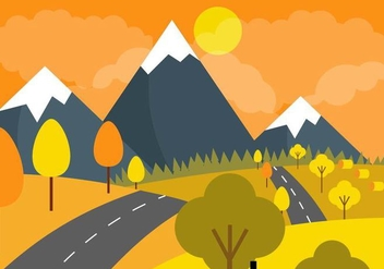 Vector Autumn Skies Landscape - Free vector #390967