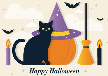 Halloween Cat Vector Elements - бесплатный vector #390987