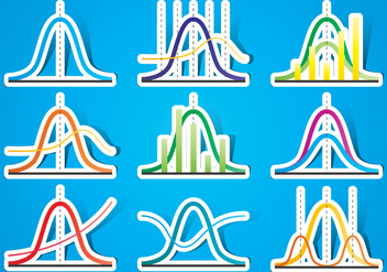 Bell Curve Stickers - vector #391127 gratis