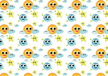Cute weather pattern - Free vector #391157