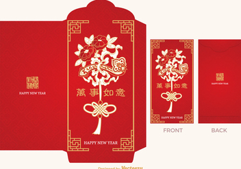 Free Chinese Red Packet Vector Template - Kostenloses vector #391357