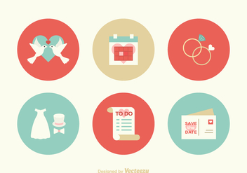 Free Flat Wedding Vector Icons - Free vector #391367