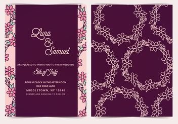 Flower Wreath Vector Wedding Invite - Free vector #391397