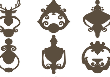 Vector Set Of Black Silhouettes Door Knockers - vector gratuit #391497