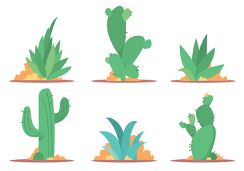 Cactus and Maguey Vector Set - Free vector #391557