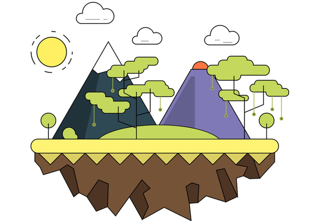 Forested Mountain Vector Landscape - Kostenloses vector #391757