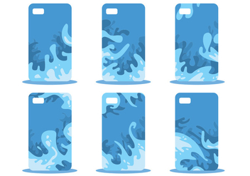 Blue Abstract Phone Case Pattern Vector Set - Kostenloses vector #391867