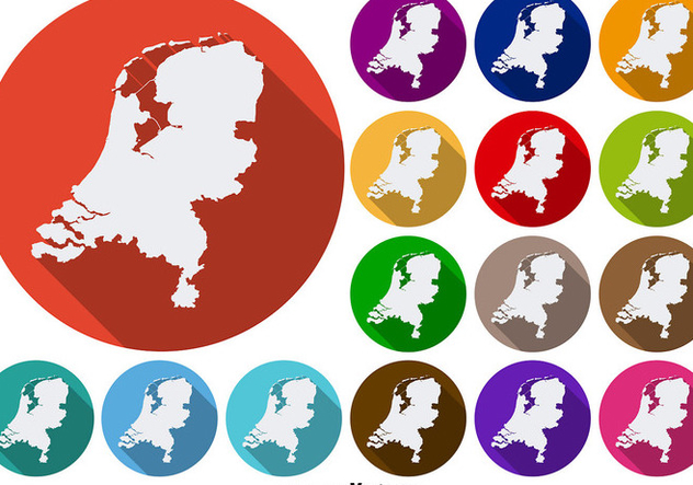 Netherlands State Silhouettes Vector Colorful Icon Buttons - Kostenloses vector #392127