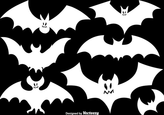 Vector Set Of Bats White Silhouettes - Free vector #392137