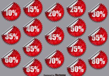 Vector Collection Of Red Promotional Stickers - Kostenloses vector #392147