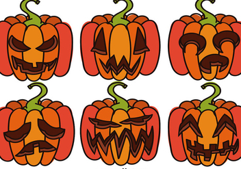 Set Of Cartoon Halloween Pumpkins - vector gratuit #392177