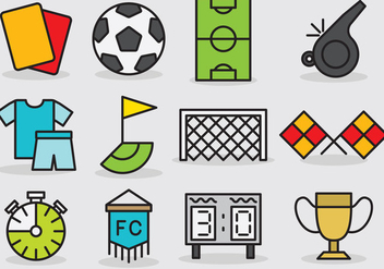 Cute Soccer Icons - Free vector #392357