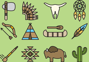 Cute Native American Icons - vector #392407 gratis