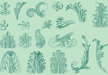 Thin Line Acanthus Decor - vector gratuit #392417