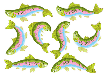 Rainbow Trout Icons - vector gratuit #392537