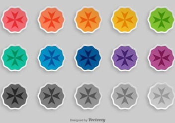 Maltese Cross Vector Badges - vector gratuit #392597
