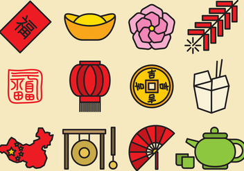 Cute Chinese Icons - vector #392907 gratis